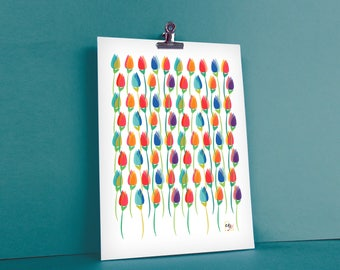 graphic and colorful floral illustration shows Spring field of tulips frame