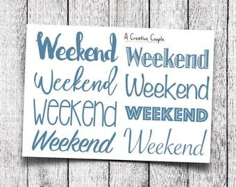 Blue Weekend Planner Stickers