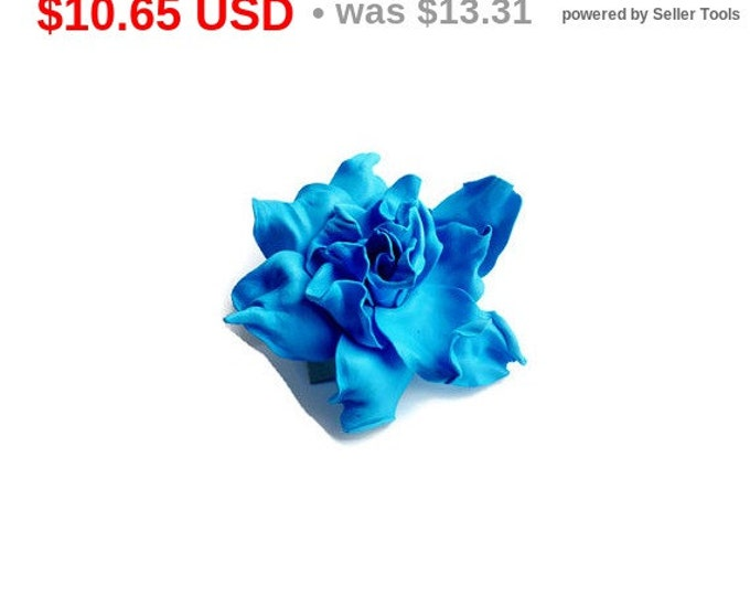 Turquoise Blue Scrunchy Flower barrette Hair Ties clip Pin Prom Hairpin Wedding Bridal Mom Event Floral rose handmade brooch Gift for her
