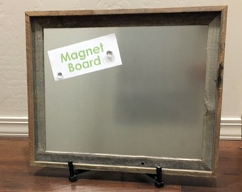 "16x20"" Steel Metal Magnet Board in Reclaimed Barnwood Frame"