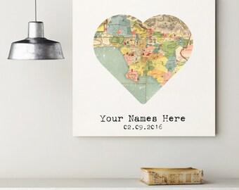 Custom Los Angeles Heart My City Map Canvas Art