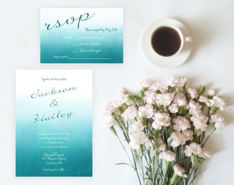 Blue Watercolour Wedding Invitation Set Printable