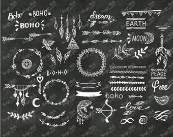 Hand Drawn Boho Clipart, Boho Photoshop Overlays, Vector Boho Clipart, Hand Drawn Boho Overlays, Boho photoshop brushes, abr eps ai svg png