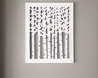 Canvas Cut Birch Trees