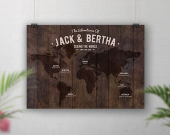 World Travel Map Personalised, Places We've Been, Bucket List Map, Wedding Anniversary Gift, Wood Wall Art, Hipster Wall Map, Rustic Map Art