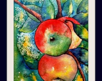 Watercolor - unique - Apple Branch I - Size 24x32 cm