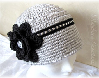 Hand crocheted in cotton with large flower knitted cloche Hat Black and silver