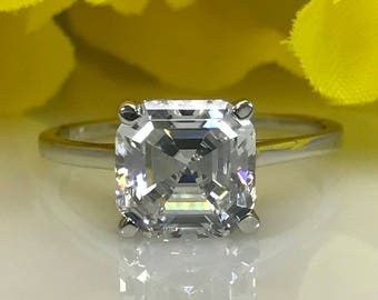 2.00 CT Asscher Cut Engagement/Wedding/Promise  Ring Solid 14K White Gold Item #4576