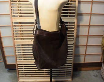 Dark Chocolate Brown Suede Leather Men Women Hobo Bag Shoulder Bag