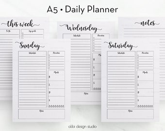 Daily Planner, A5 Planner Inserts, Daily Printable, Planner Inserts, Daily Schedule, Printable Planner, A5 Filofax, Weekly Planner