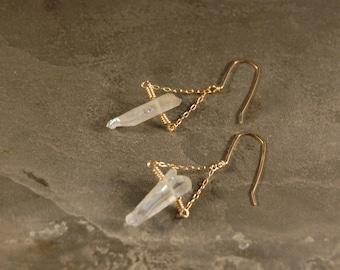 Aurora Australis - Rainbow Mystic Crystal Quartz Chain Dangle Earrings  - Silver - Gold - Pink Gold - Southern Lights