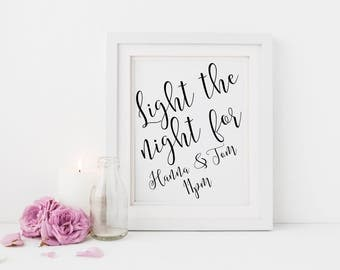 Light the night for sign | Custom wedding send off sign | Custom sparkler send off sign | Wedding send off sign | Wedding sparkler sign S2
