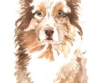 "Custom Watercolor Pet Portrait- Vertical. 140lb Watercolor Paper, 9x12"", pet painting, custom pet watercolor, custom pet portrait, dog, cat"