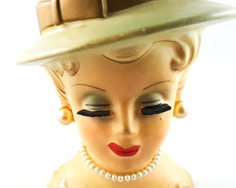 NEW PRICE!!   Vintage Leewards Mid Century Lady Head Vase with Pearls and Super Long Lashes