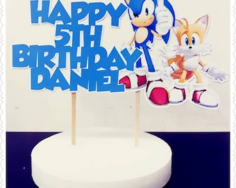Sonic the Hedgehog--Inexpensive Personalized Cake Toppers with Name & Character--Kid's Birthday Party Decorations