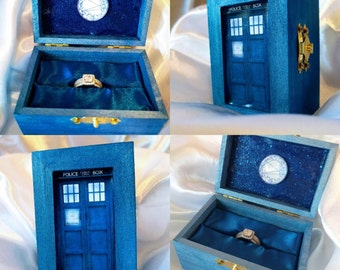 "Dr. Who Tardis Blue inspired Engagement Ringbox~Galifreyan writes ""You are loved by so many & so much and by no one more than me""~River Song"