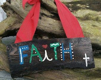 Faith Sign - wooden wall hanging - rustic faith sign - cross sign - religious sign - religious decor - faith decor - rustic decor