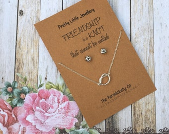 Pretty Little Jewellery - Friendship is a knot that cannot be untied Necklace & Stud Earrings Set