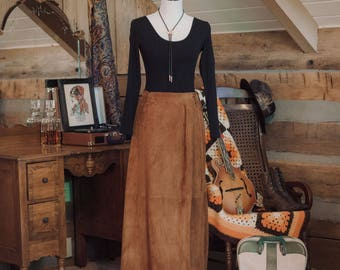 Vintage 1970's tanned suede wrap skirt