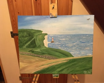 Painting - Beachy head lighthouse on Boxing Day