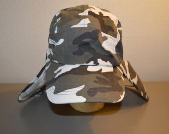 Black and White Camo  Hat with a Back Flap