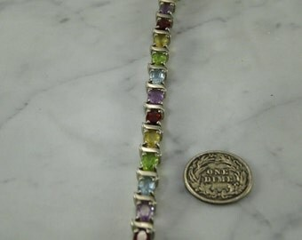 Multi Gem Stone Sterling Silver Bracelet