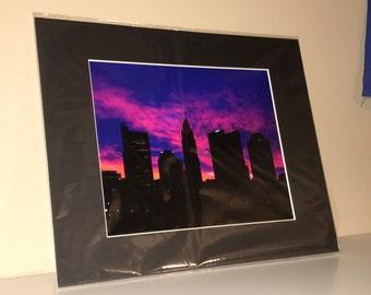 Columbus Ohio Downtown Morning Sunrise Colorful Silhouette Cityscape, Wall Art Wall Décor Fine Art  Home Décor Photo Picture
