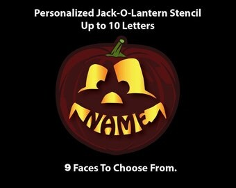 Personalized Pumpkin Stencil, Name in Pumpkin Mouth