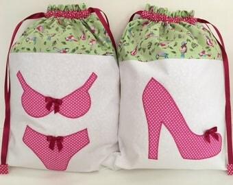 Green Pink Bird Drawstring Shoe Bag Washbag