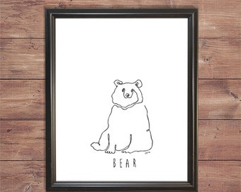 Printable Bear Line Drawing (one continous line drawing)