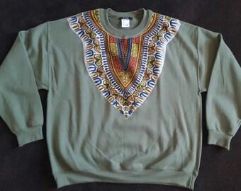 Military Green Daishiki Sweatshirt