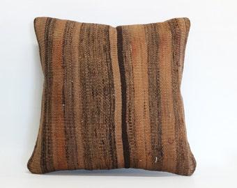 Decorative Kilim Pillow Throw Pillow 16x16 Striped Kilim Pillow Bed Pillow Throw Pillow Ethnic Pillow Vintage Kilim Pillow  SP4040 1604