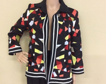 New Linda Allard Ellen Tracy Geometric Print Linen Jacket