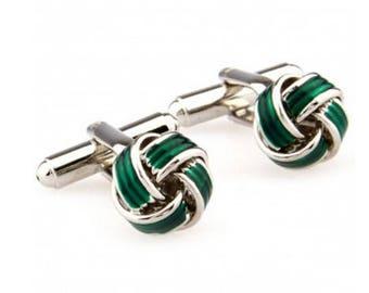 Green Knot Cufflink -k172