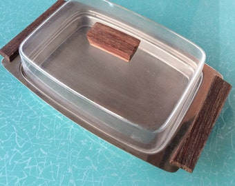 Vintage mid Century Modern butter  or cheese dish