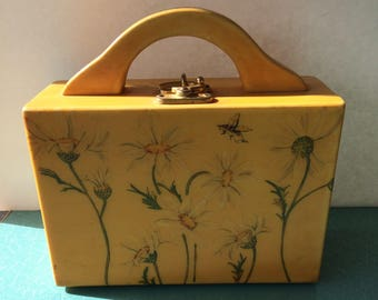 Vintage lacquer decoupage golden yellow daisies box purse