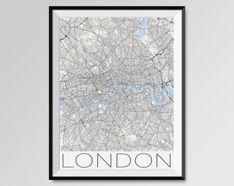 LONDON Map Print, Modern City Poster, Black and White Minimal Wall Art for the Home Decor