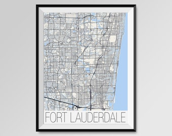 FORT LAUDERDALE City Map Print, Florida Modern City Poster, Black and White Minimal Wall Art for the Home Decor,custom city maps