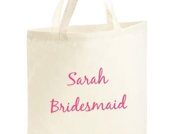 Wedding bridesmaid totes. Personalised.
