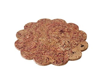 Compressed cork coasters flower shaped