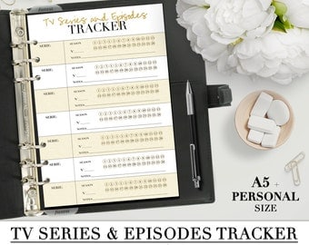 Printable TV SERIES and Episodes Tracker insert for your personal and A5 planner