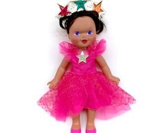 1995 Kenner Wishing Star Doll RARE African American Variant 90s Retro Brown Black Dark Skin Skinned Dolly Crown Wand Pink Dress Scarce Htf