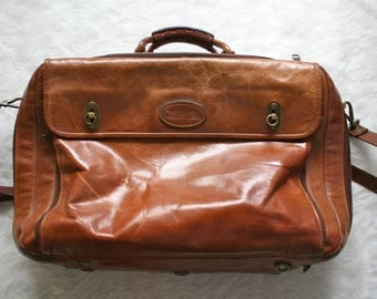 Oversized Overland Outfitters Leather Travel Bag / Vintage Leather Carryon / Vintage Leather Luggage / Vintage Leather Bag / Leather Duffel
