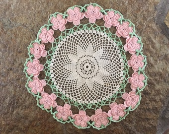 Handmade Pink and Seagreen Flower Doily