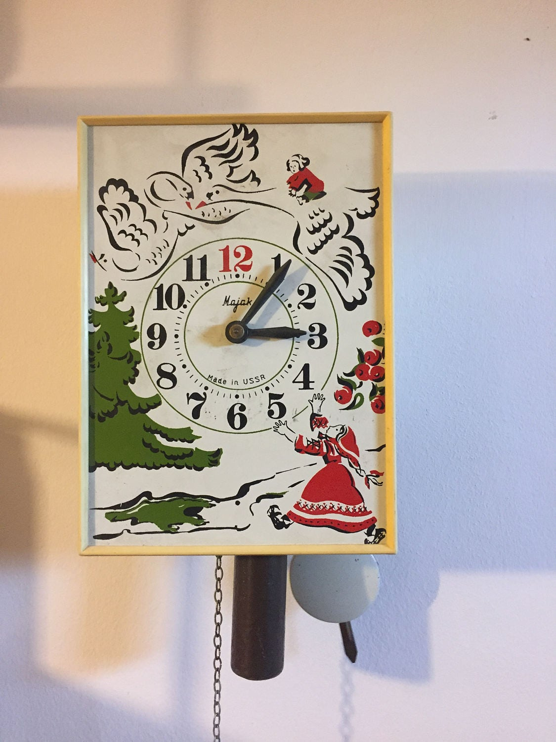 Vintage russian pendulum clock folk painted ussr old rare zoom amipublicfo Images