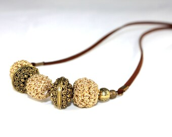 Handmade beaded necklace and filigree, crochet beaded necklace, crochet necklace, beaded necklace handmade, statement necklaces suede chain.