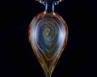 Abstract Solid Borosilicate Glass Pendant Necklace in Blue-Red Flame Swirl
