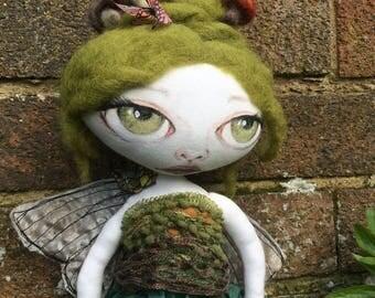Handmade cloth doll fairy OOAK - Rosalinda