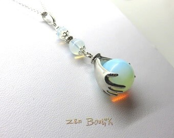 Opalite, ball necklace in 2 hands and pearls Opalite pendant and chain, jewelry gift woman, jewel Chic, Zen calm and serenity necklace