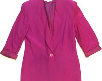 SALE! 1980s magenta long blazer- plain blazer pink blazer magenta 80s